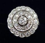Gorgeous platinum art deco 1.30ct Diamond cluster target vintage antique ring